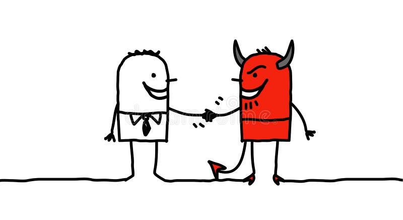 дьявол делая пакт человека иллюстрация штока