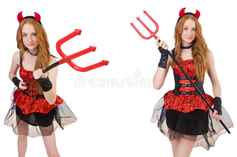 Дьявол женщины с трезубцем на белизне стоковое изображение
