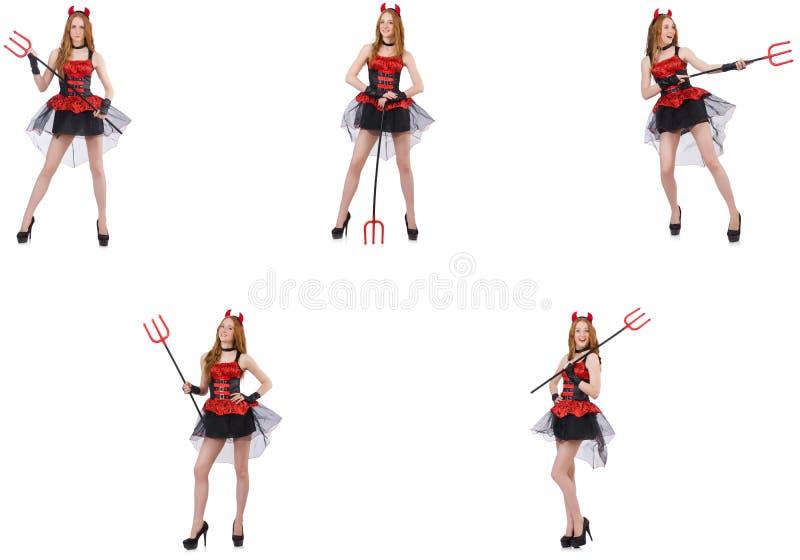 Дьявол женщины с трезубцем на белизне стоковые изображения