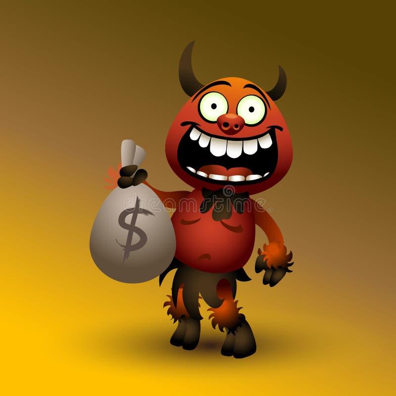 Дьявол Fanny красный с деньгами. иллюстрация вектора