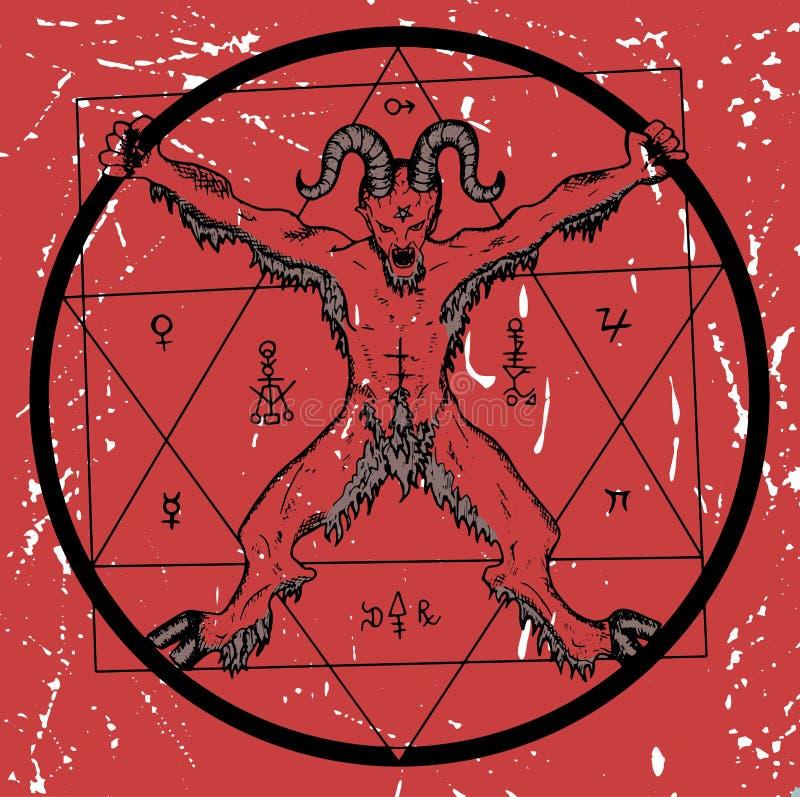 Дьявол с пентаграммой на красной текстурированной предпосылке иллюстрация вектора
