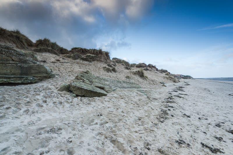 Дюны пляжа Юты в месте войны 2 пустоши Нормандии историческом стоковое фото rf