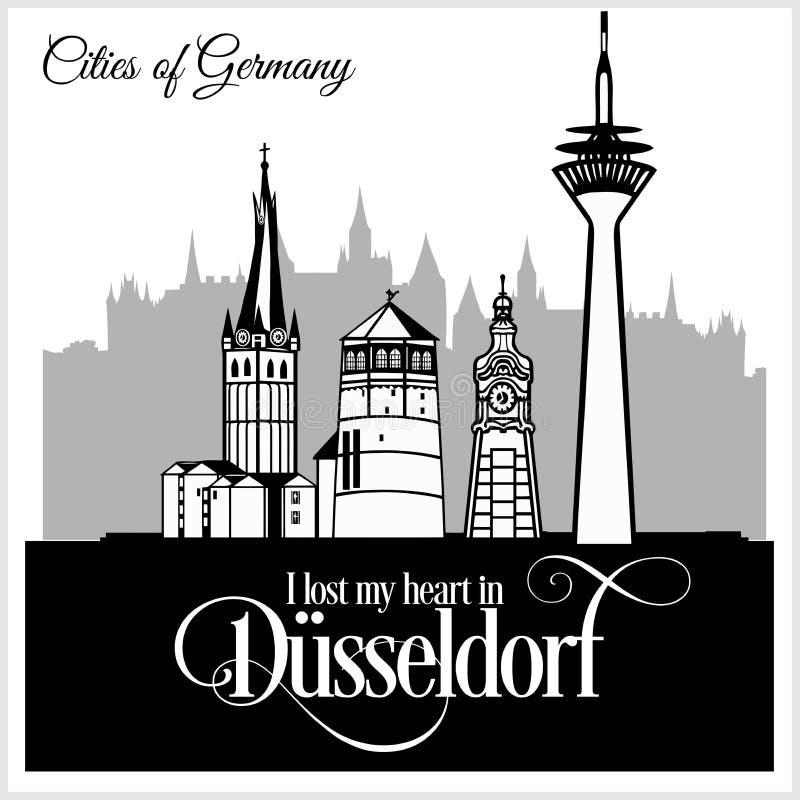 Дюссельдорф - город в Германии Детальная архитектура Ультрамодная иллюстрация вектора иллюстрация вектора