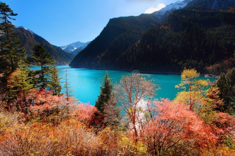 Длинное озеро в осени Jiuzhaigou сценарном в Сычуань, Китае стоковое изображение rf