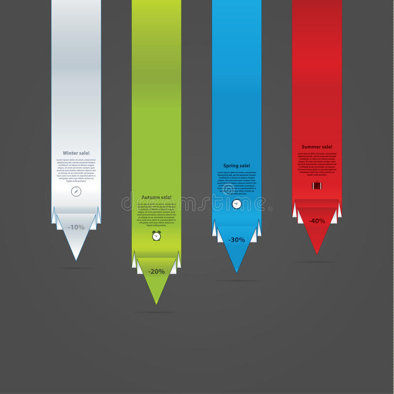 Длинные указатели вектора. 4 указателя стрелки современных дизайна с muc иллюстрация штока