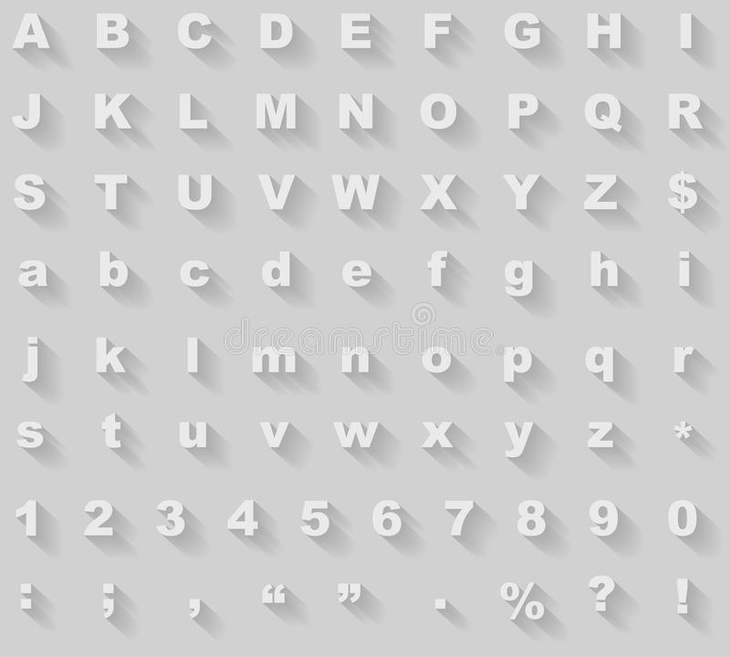 Длинный алфавит тени бесплатная иллюстрация