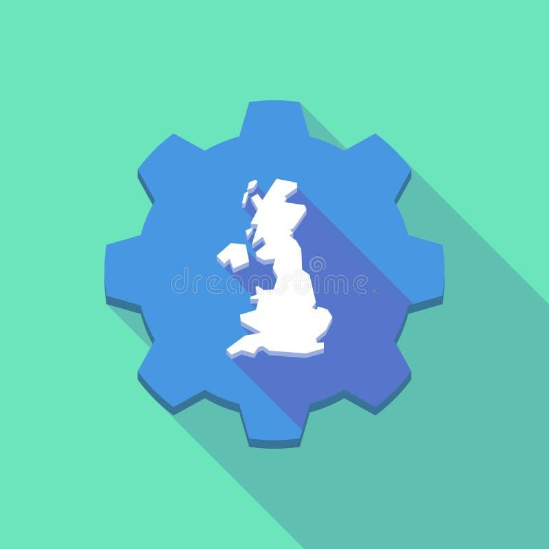 Длинный значок шестерни тени с картой Великобритании иллюстрация штока