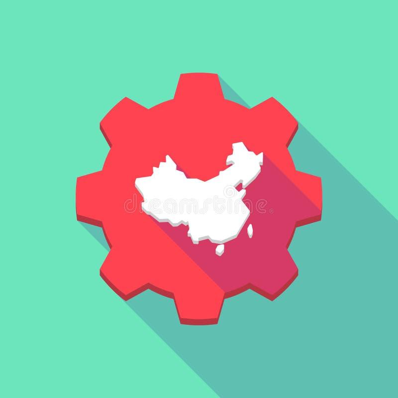 Длинный значок шестерни тени с картой Китая иллюстрация штока
