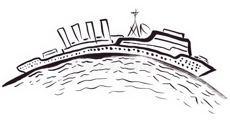 Длинный корабль на изогнутом горизонте иллюстрация штока