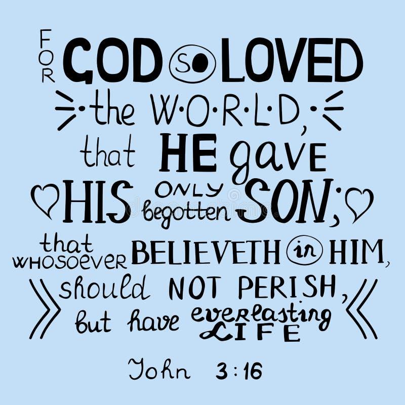 Для бога так полюбленного мир Джона 3 16 иллюстрация вектора
