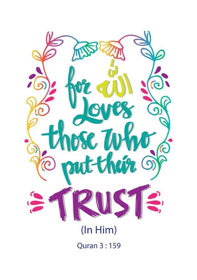 Для влюбленностей Аллаха те которые положили их доверие иллюстрация вектора