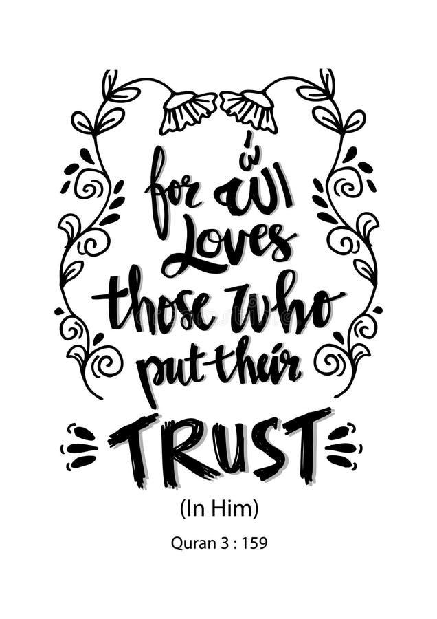 Для влюбленностей Аллаха те которые положили их доверие иллюстрация штока