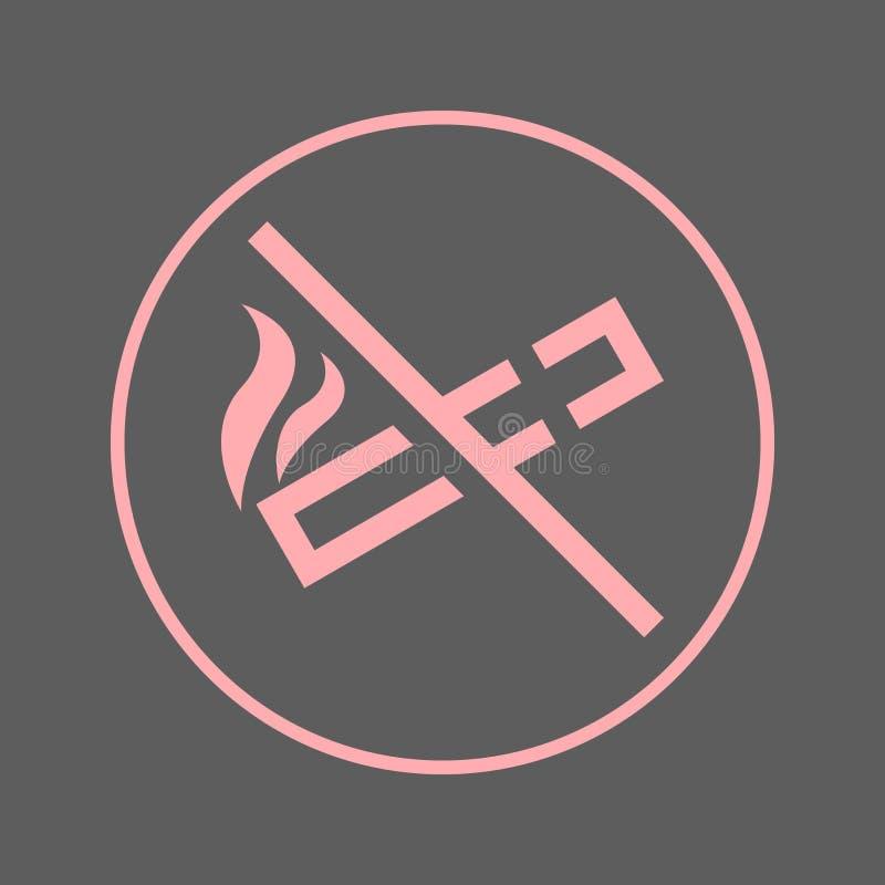 Для некурящих круговая линия значок Круглый красочный знак Плоский символ вектора стиля иллюстрация вектора