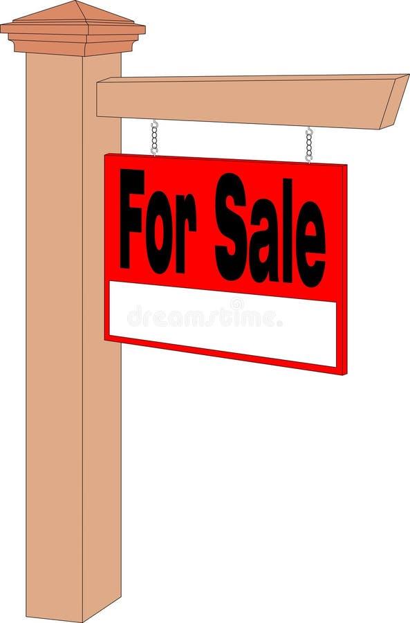 Для продажи знак и столб стоковое изображение rf