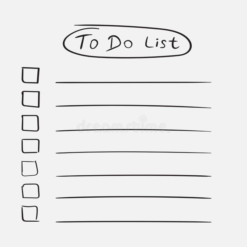 Для того чтобы сделать значок списка при нарисованная рука отправьте СМС Контрольный списоок, vecto списка задач иллюстрация вектора