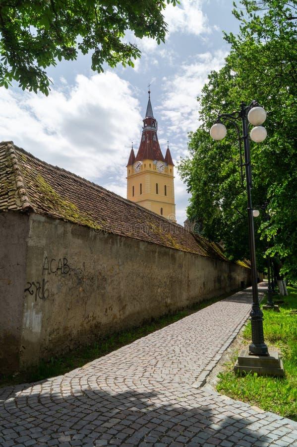 Евангелистская церковь-крепость от Cristian, Brasov, Румынии стоковое фото rf