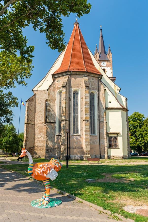 Евангелистская церковь Saxon в Bistrita стоковое изображение