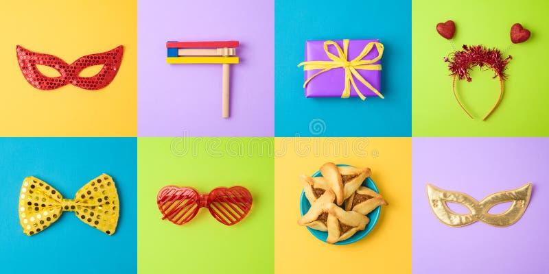 Еврейская предпосылка Purim праздника с маской масленицы, hamantaschen печенья и noisemaker стоковые фотографии rf