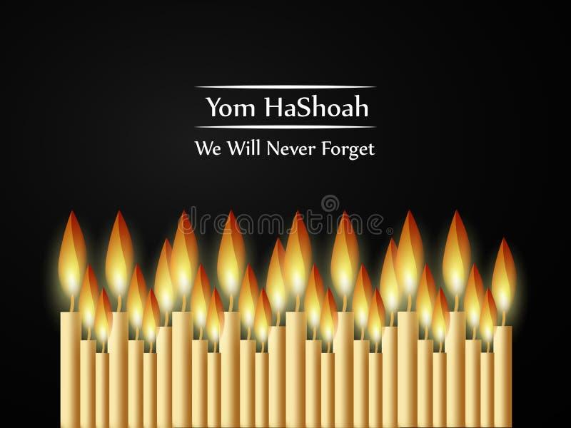 Еврейская предпосылка день памяти погибших в первую и вторую мировые войны Yom HaShoah бесплатная иллюстрация