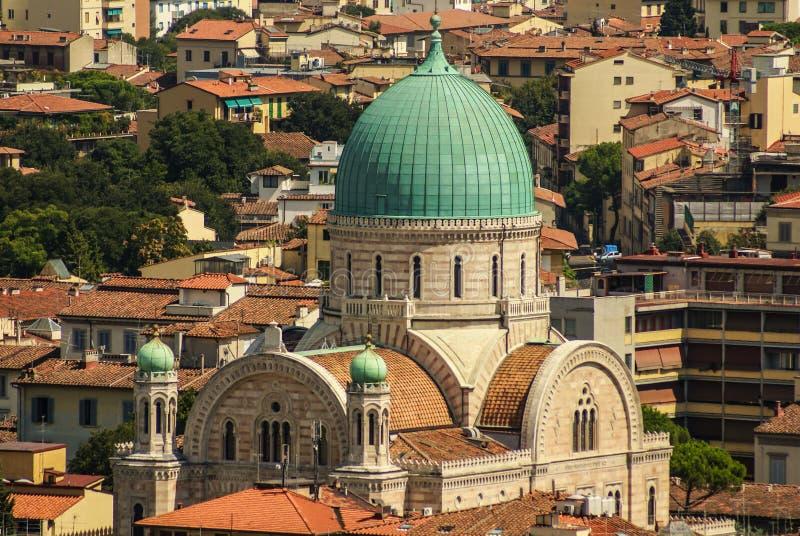 Еврейская синагога Флоренса от верхней части. стоковое изображение rf