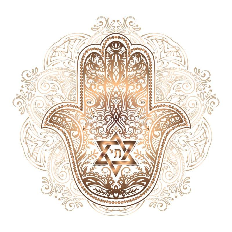 Еврейская татуировка hamsa иллюстрация вектора