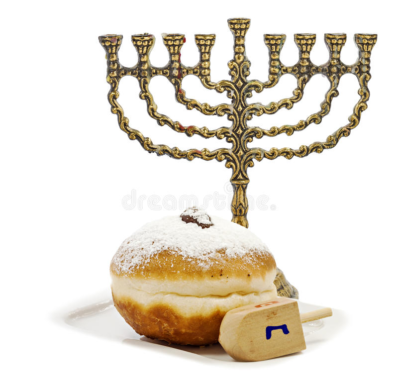 Еврейские атрибуты для Хануки стоковые изображения