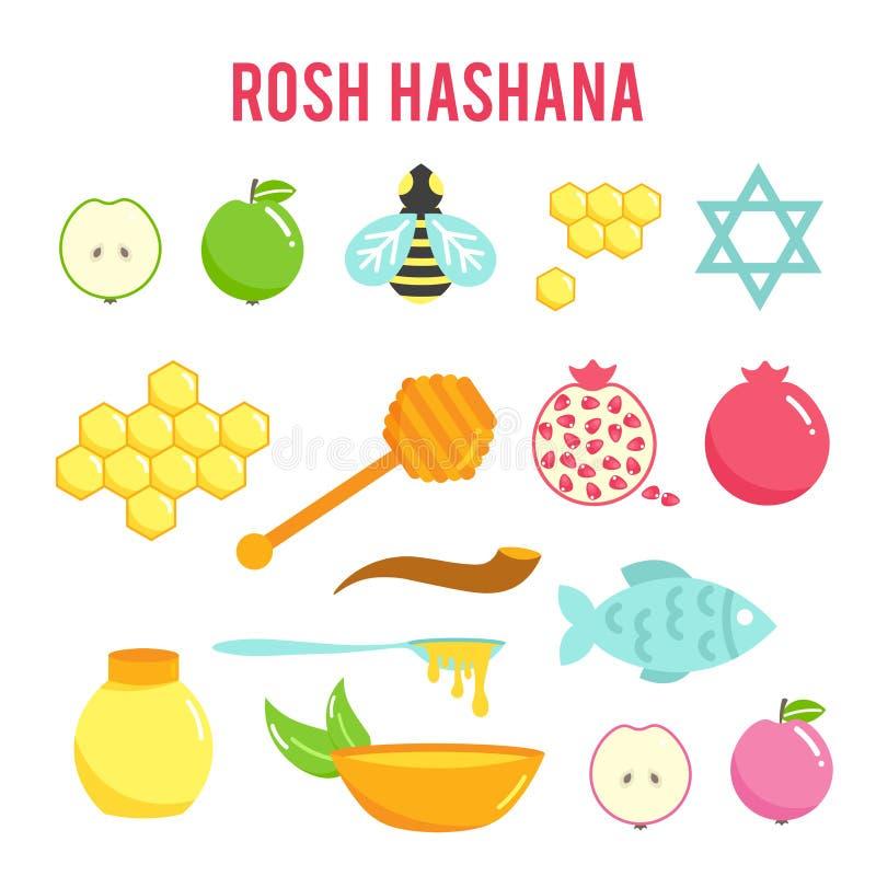 Еврейские значки Rosh Hashanah Нового Года плоские установили, Shana Tova, еврейский праздник Нового Года иллюстрация штока