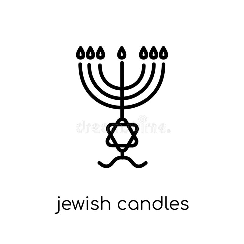 Еврейские свечи значка Консервная банка ультрамодного современного плоского линейного вектора еврейская иллюстрация штока