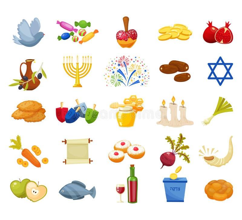 Еврейские установленные значки Хануки праздника также вектор иллюстрации притяжки corel иллюстрация вектора