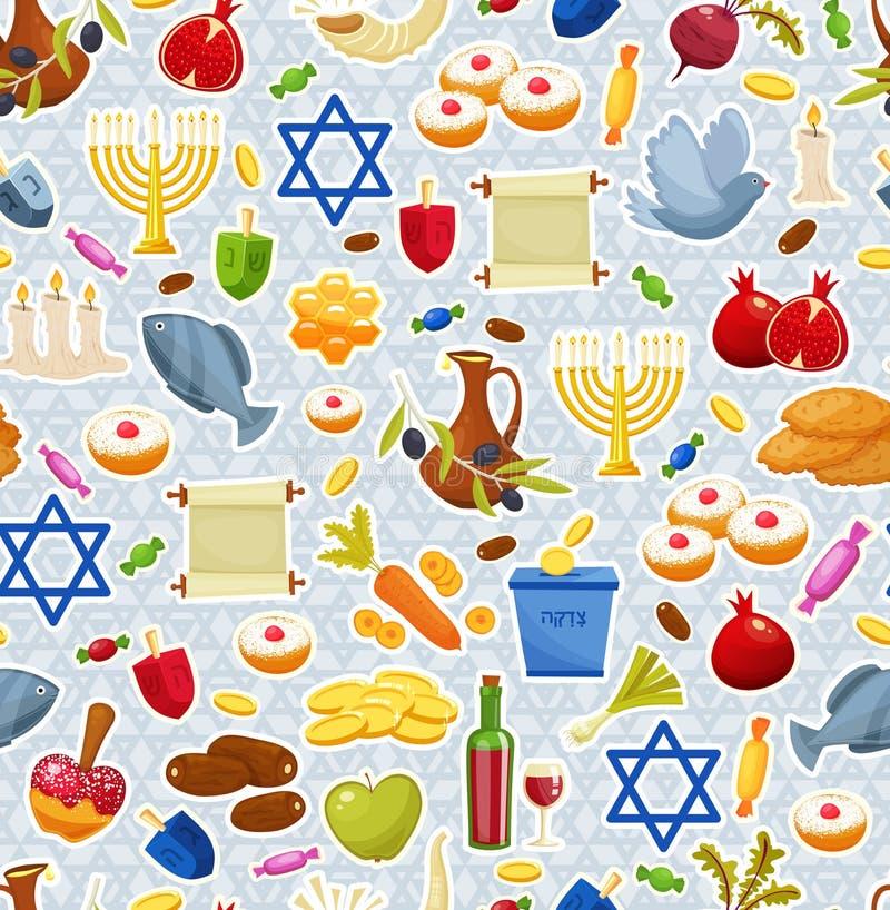 Еврейские установленные значки Хануки праздника также вектор иллюстрации притяжки corel бесплатная иллюстрация