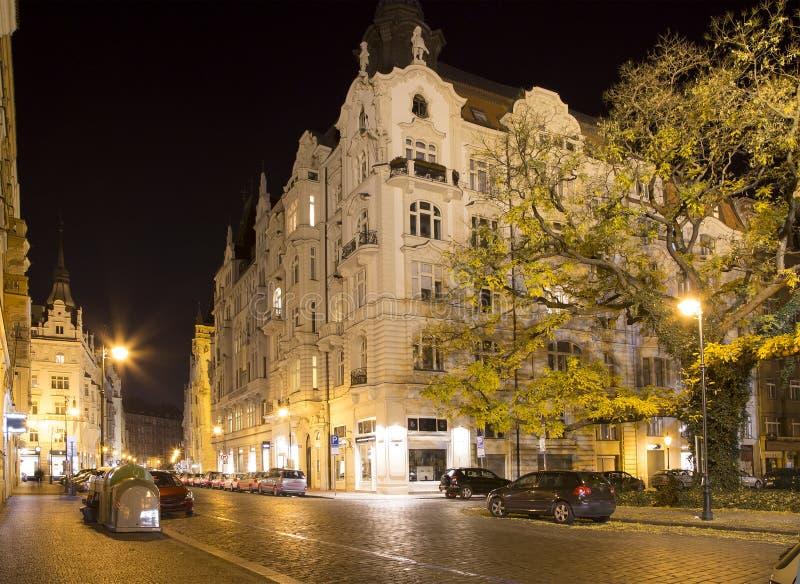 Еврейский квартал Праги (взгляда) ночи, чехии стоковая фотография rf