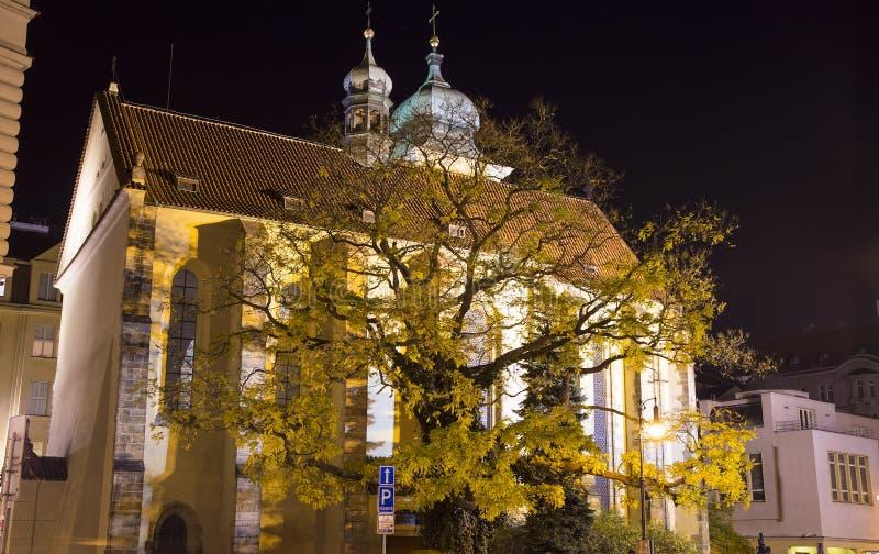Еврейский квартал Праги (взгляда) ночи, чехии стоковые фото
