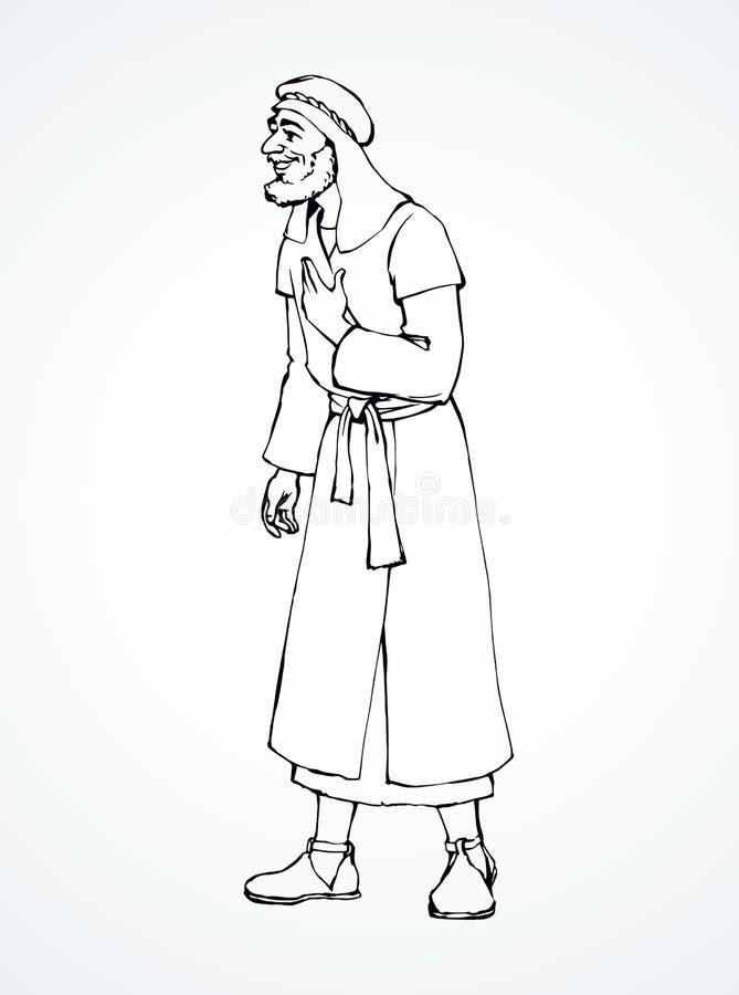 Еврейский человек в старых одеждах r иллюстрация штока