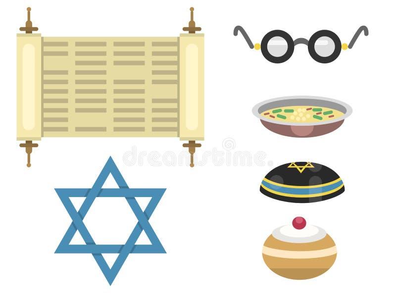 Еврейской пасхи синагоги Хануки символов церков иудаизма иллюстрация вектора еврейства традиционной религиозной древнееврейская