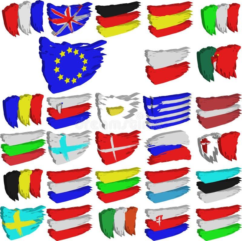 евроец flags соединение иллюстрация вектора