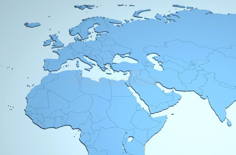 Европа Африка Ближний Восток 3D иллюстрация вектора