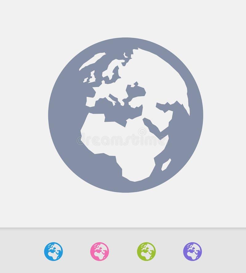 Европа & Африка на земле - значках гранита иллюстрация вектора