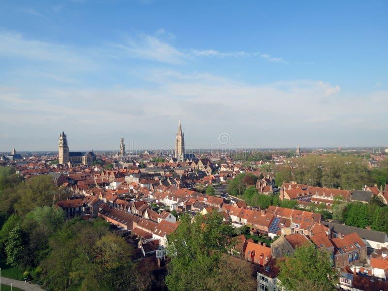 Европа, Бельгия, западная Фландрия, Брюгге, взгляд глаза птицы исторического центра стоковое изображение rf