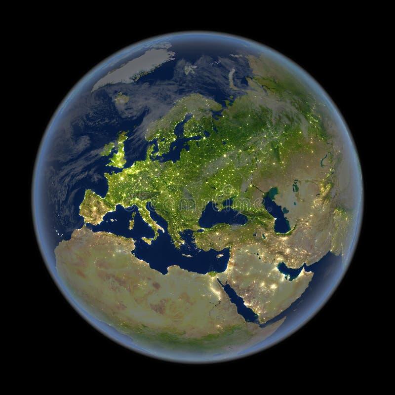 Европа на ноче от космоса бесплатная иллюстрация