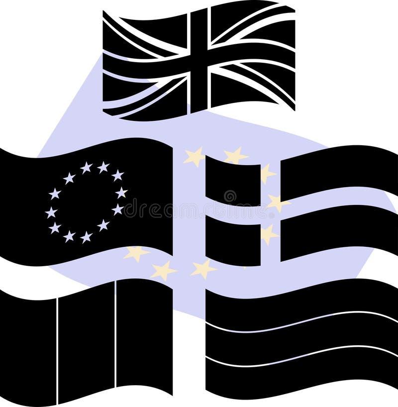европа flags восковки иллюстрация штока