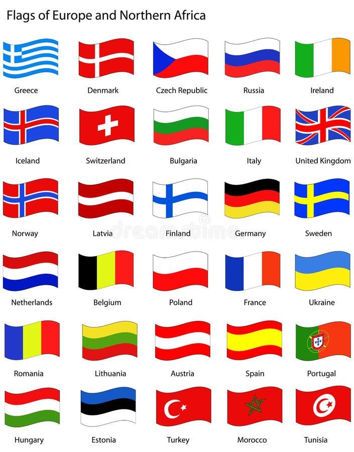европа flags тип волнистый иллюстрация вектора