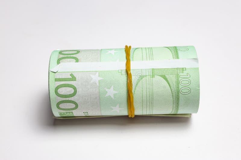 Европейская валюта; крен банкнот евро стоковые изображения