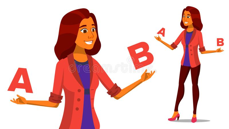 Европейская женщина сравнивая a с вектором b творческая идея Балансировать Обзор клиента Сравните объекты, приобретения, идеи иллюстрация штока