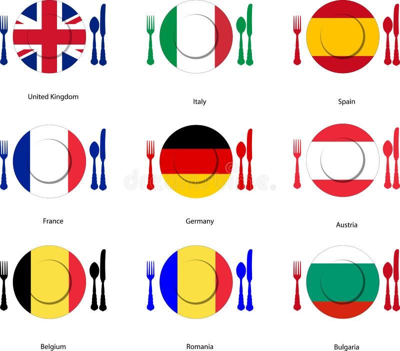 Европейская кухня иллюстрация вектора