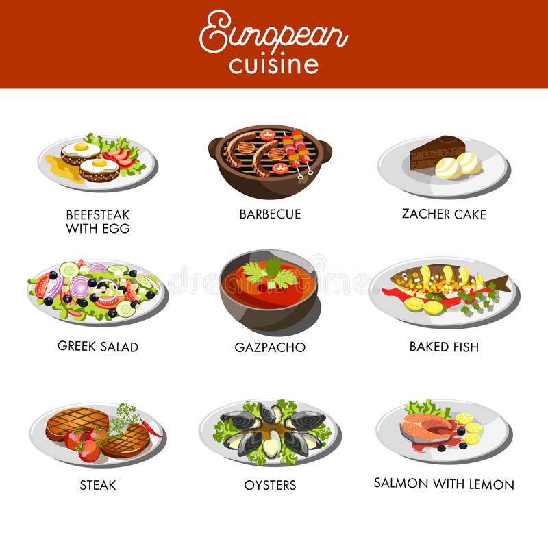 Европейские блюда еды кухни для ресторана vector шаблон меню бесплатная иллюстрация