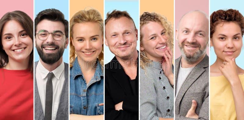 Европейские люди и женщины усмехаясь на камере быть самоуверенный стоковое фото rf