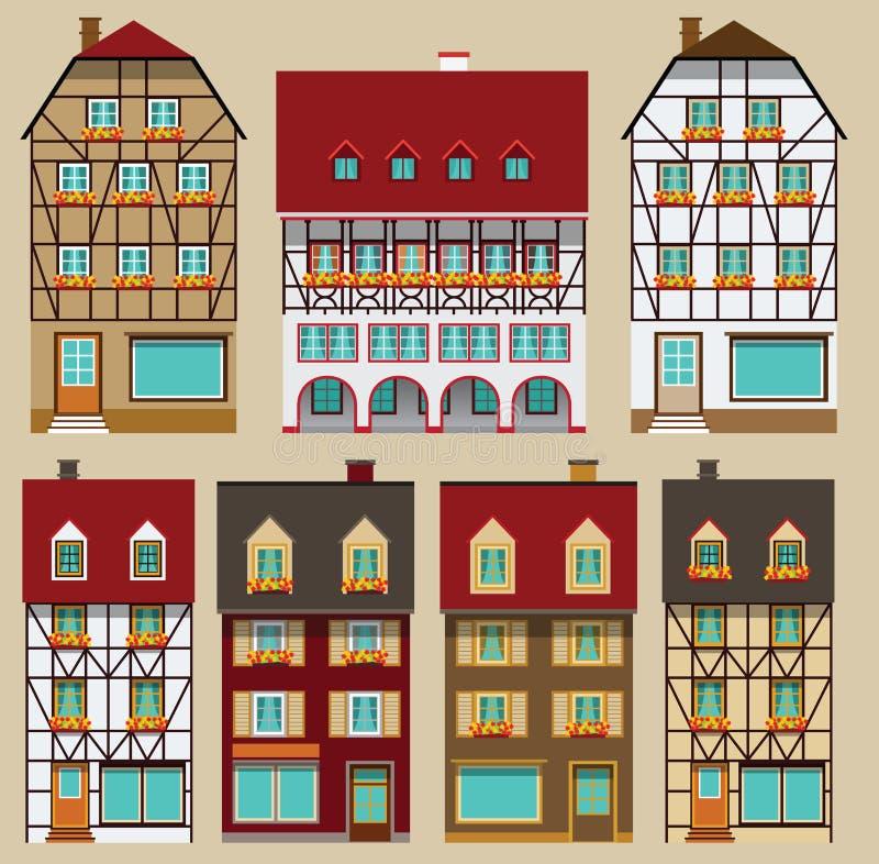 Европейские дома города иллюстрация вектора