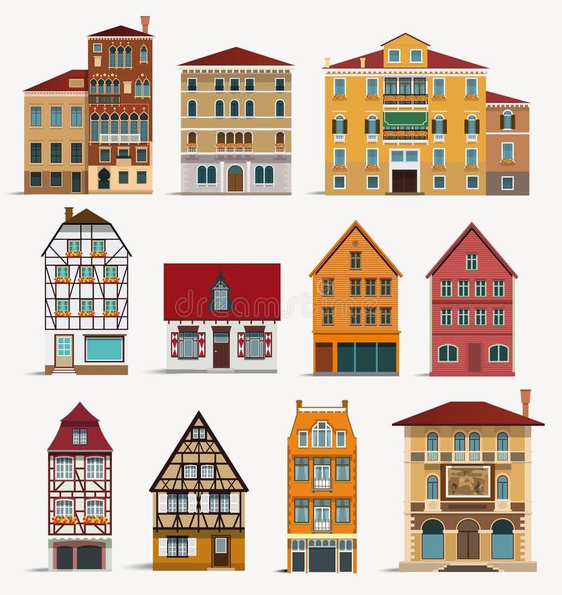 европейские дома иллюстрация вектора