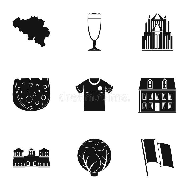 Европейские установленные значки, простой стиль кухни иллюстрация вектора