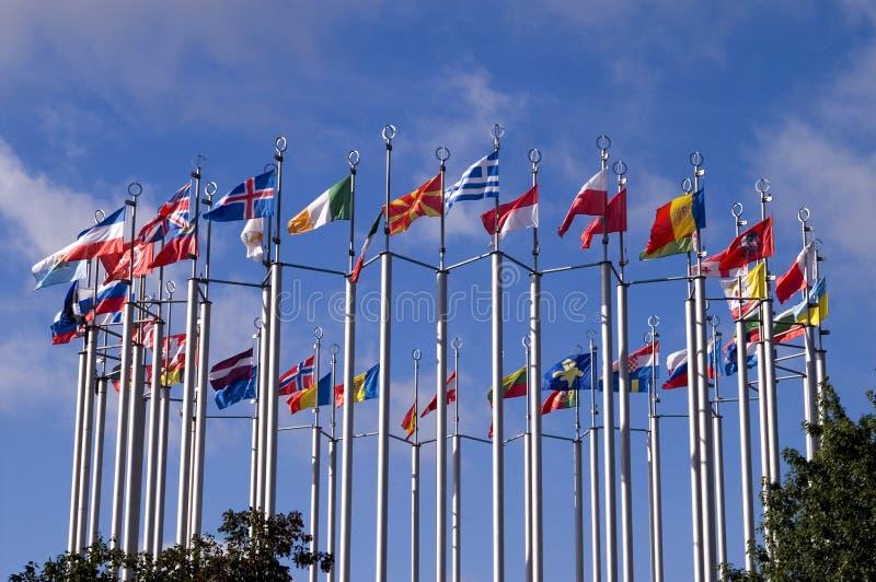 европейские флаги стоковое фото